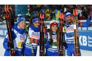 Biathlon-WM Oestersund, Mixed-Staffel (Hofer, Vitozzi, Wierer, Windisch) - Foto: sportnews.bz
